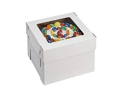 """W PACKAGING WPCKB108 Cake Box with Window, E-Flute, 10"""" x 10"""" x 8"""", White Pack"""