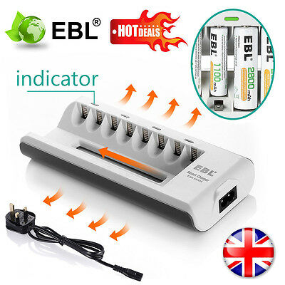 EBL 8 Slot Fast Battery Charger For AA AAA NI-MH NI-CD Rechargeable Battery NEW