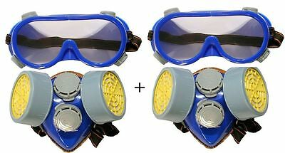 2x 2PC GOGGLE SAFETY SET RESPIRATOR DUST MASK PROTECTIVE EYE GOGGLE PAINT FILTER