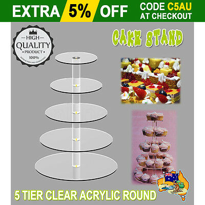 5 Tier Round Acrylic Clear Party Wedding Tiered Cupcake Cake Plate Stand Display