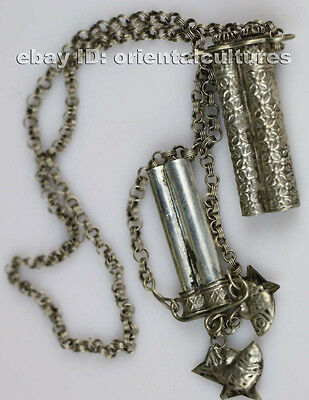 Tribal exotic chinese handmade miao silver needlepoint bag necklace