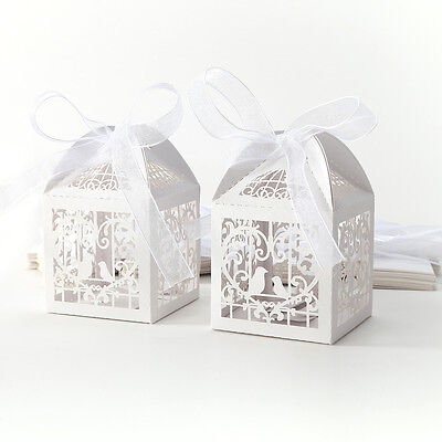 25/50/100 Bird Cage Laser Cut Candy Gift Boxes With Ribbon Wedding Party Favor