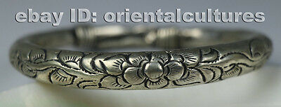 Tribal exotic ethnic chinese hand-carved miao silver bracelet