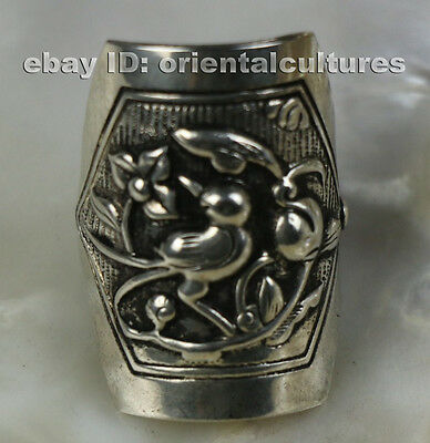 Tribal exotic ethnic chinese handmade miao silver bird ring