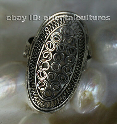 Tribal exotic ethnic chinese handmade filligree miao silver ring