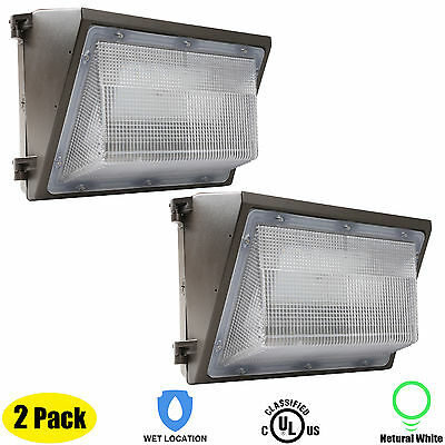 US 2 Pack 45W LED Wall Pack Outdoor Fixture Waterproof Security Day light White