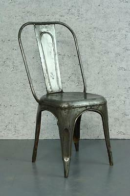 VINTAGE INDUSTRIAL STRIPPED METAL AC TOLIX FRENCH CAFE CHAIR 1920s #1784