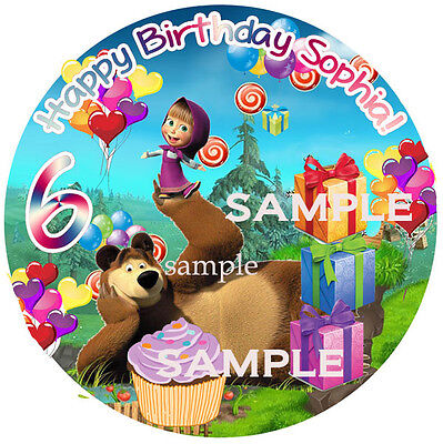 Masha and BEAR Round Edible ICING Image Birthday CAKE Topper Decoration