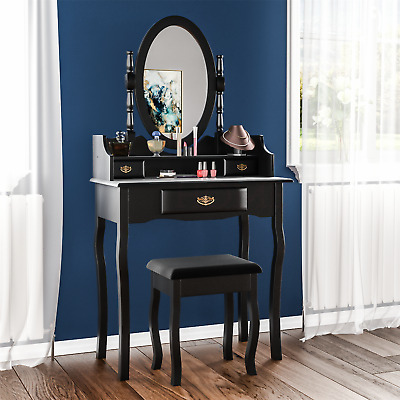 Nishano Dressing Table 3 Drawer Stool Black Makeup Mirror Bedroom Vanity Desk