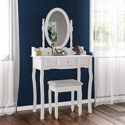 Nishano Dressing Table 1 Drawer Stool White Makeup Mirror Bedroom Vanity Desk