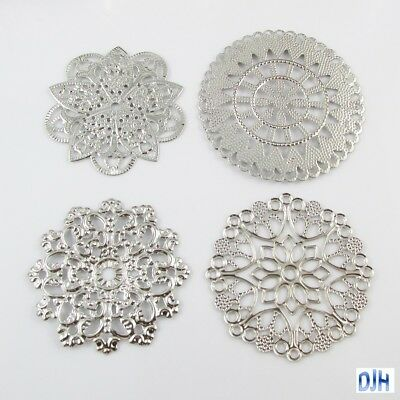 8pcs Metal Filigree Mandala Embellishments Cards Scrapbooking Hair Clips