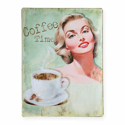 Metallschild Coffee Time grün Schild Retro ca. 30x40 cm Vintage Blechschild