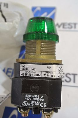 Allen Bradley Pilot Light Cat: 800T-P46G  Ser T Green Lens  480V NIB