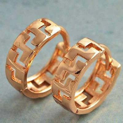 Cute New 9K Rose Gold Filled Small Shiny Zigzag Cutout Huggie Hoop Earrings