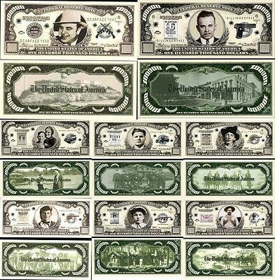 Lot Gangster X8 Billets Million Dollar ! Al Capone Bonnie & Clyde Mafia Braqueur