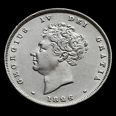 1826 George IV Bare Head Milled Silver Shilling – A/EF  #2
