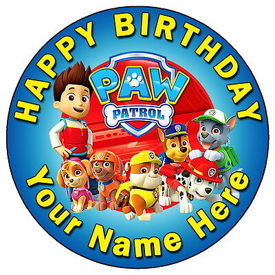 "Paw Patrol Fun Team Party - 7.5"" Personalised Round Edible Icing Cake Topper"