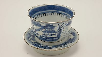 Chinese 18th Century Porcelain Blue And White Tea Cup (Two Pieces)