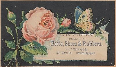 Victorian Trade Card-C D Wilder Boots, Shoes-Cambridgeport, MA-Butterfly-Roses