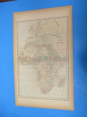 """1893 Popular Atlas Map 2 Page, Africa Nice Color,Suitable To Frame 13 1/2"""" X 22"""""""