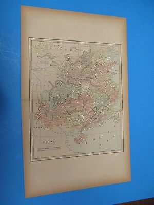 """1893 Popular Atlas Map 2 Page, China Nice Color,Suitable To Frame 13 1/2"""" X 22"""""""