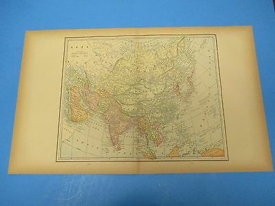 """1893 Popular Atlas Map 2 Page, Asia, Nice Color,Suitable To Frame 13 1/2"""" X 22"""""""