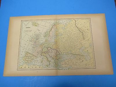"1893 Popular Atlas Map 2 Page, Europe Nice Color,Suitable To Frame 13 1/2"" X 22"""