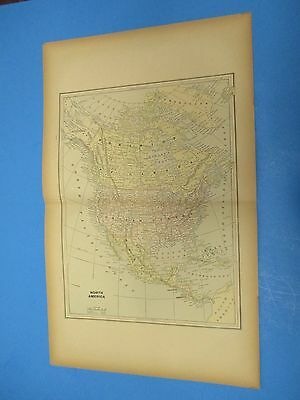 """1893 Popular Atlas Map 2 Page,North America, Color,Suitable Frame 13 1/2"""" X 22"""""""
