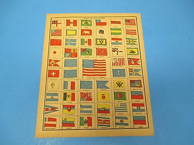 1893 Popular Atlas Map 1 Page, Flags of All Nations, Suitable to Frame, Color