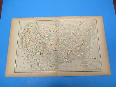 """1893 Popular Atlas Map 2 Page,United States, Color,Suitable Frame 13 1/2"""" X 22"""""""