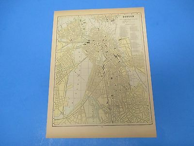1893 Popular Atlas Map 1 page, Map of Boston, Suitable to Frame, Color