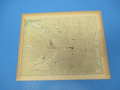 1893 Popular Atlas Map 1 page, Philadelphia, Suitable to Frame, Color