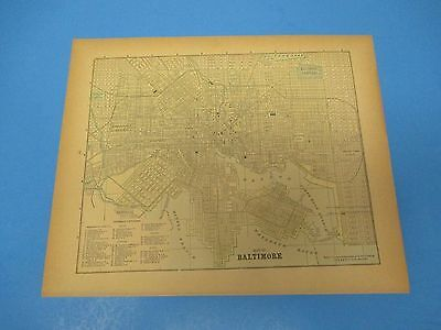 1893 Popular Atlas Map 1 page, Baltimore, Suitable to Frame, Color