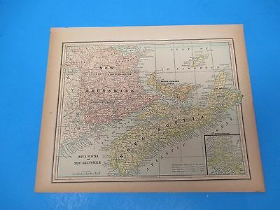 1893 Popular Atlas Map 1 page, Nova Scotia and New Brunswick, Suitable to Frame