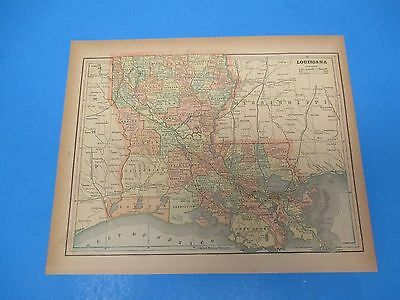 1893 Popular Atlas Map 1 page, Louisiana, Suitable to Frame, Color
