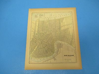 1893 Popular Atlas Map 1 page, New Orleans, Suitable to Frame, Color