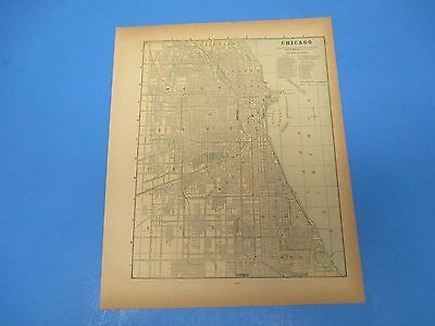 1893 Popular Atlas Map 1 page, Chicago, Suitable to Frame, Color