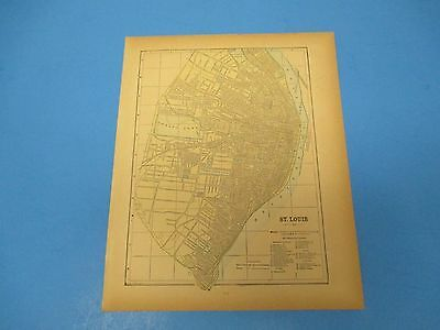 1893 Popular Atlas Map 1 page, St. Louis, Suitable to Frame, Color