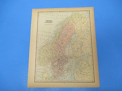 1893 Popular Atlas Map 1 page, Sweden and Norway, Suitable to Frame, Color