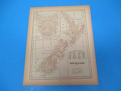 1893 Popular Atlas Map 1 page, New Zealand, Suitable to Frame, Color