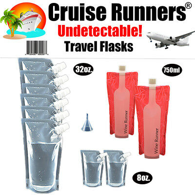 Cruise Flask Kit Plastic Runners Rum Sneak Smuggle Alcohol Liquor Booze Wine Bag