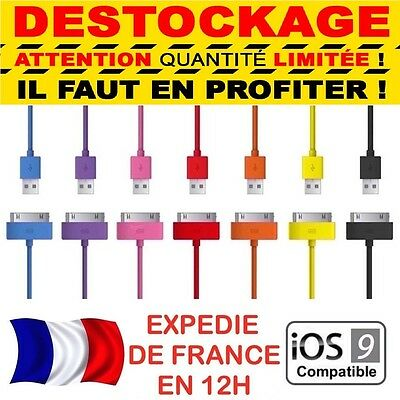 CABLE RENFORCE ★ COULEUR ★ USB CHARGEUR RECHARGE SYNC ★ iPhone 3,4,4S,Ipad,Ipod