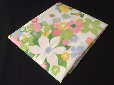 CANNON Vintage FULL Double FLAT Bed Sheet 50/50 NO IRON Flower Power Hippie