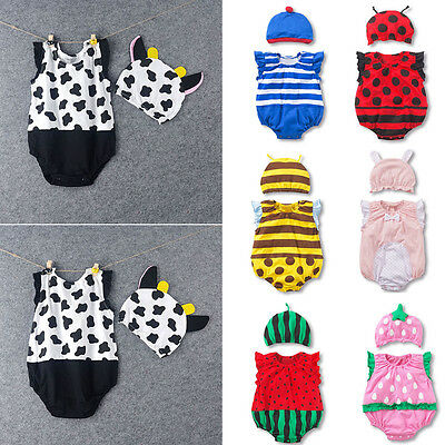 7 Designs NEW Baby Boys Girls Animal Costume Clothes Romper + Hat Outfit Set