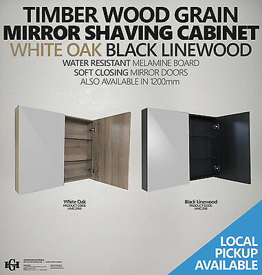 900mm Timber Oak or Black Wood Grain Wall Hung Mirror Shaving/Medicine Cabinet