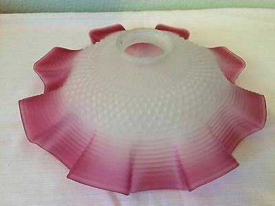 Art Nouveau French Cranberry Art Glass Coolie Pendant Light Shade Quilted 2 1/4""