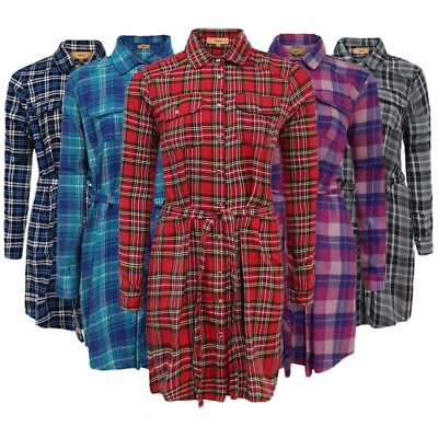 Ladies Check Tartan Print Shirt Belt Button Collar Longline Womens Dress Top