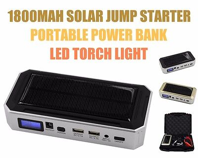 12v 18000mah Portable Solar Car Jump Starter Power Bank USB Charger LED Torch