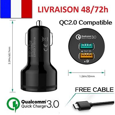 Chargeur Voiture Prise Allume Cigare AUKEY Qualcomm Quick Charge 3.0 USB 5V/3A