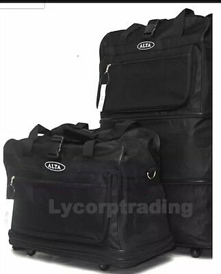 """36"""" Expandable Rolling Duffle Bag with 5 Spinner Wheels Unzips Into 3 Sizes"""